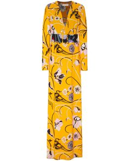 Belted Printed Crepe Maxi Dress