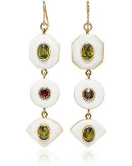 Gold-tone, Horn, Zircon And Garnet Earrings
