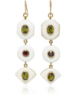 Gold-tone, Horn, Zircon And Garnet Earrings