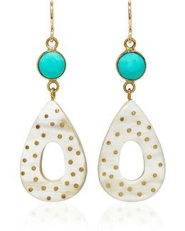 Bendi Horn And Turquoise Earrings
