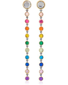 Rhodium-plated Rainbow Topaz Drop Earrings