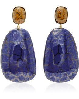 Square Gold-tone Ceramic Earrings