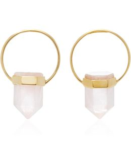 Gold-plated Brass And Agate Crystal Earrings