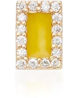Rectangle 14k Yellow Gold And Diamond Stud Earrings
