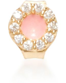 14k Gold, Pink Enamel And Diamond Singe Earring