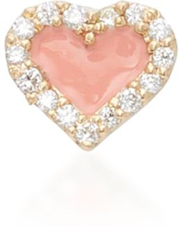 Coral Heart 14k Yellow Gold And Diamond Studs