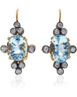 18k Gold, Aquamarine And Diamond Earrings