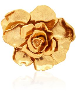 Small Painted Rosette Gold-tone Brooch