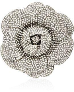 Crystal-embellished Silver-tone Rose Brooch