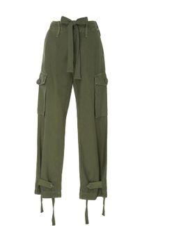 Green High-rise Cargo Pants