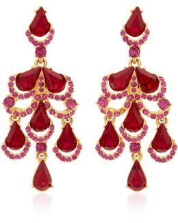Baroque Gold-tone Crystal Earrings