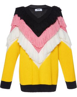 Chevron Fringe Sweater