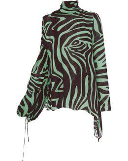 High Neck Animal Print Blouse