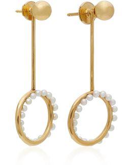 Cameleon Pendant 18k Gold Pearl Earrings