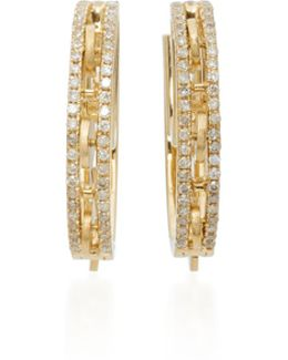 18k Gold Diamond Hoop Earrings