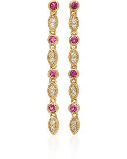 18k Gold, Diamond And Ruby Earrings