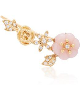 18k Gold, Diamond And Opal Single Earring