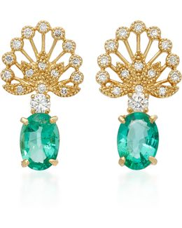 18k Gold, Diamond And Emerald Earrings