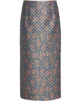 Quilted Lurex Pencil Skirt