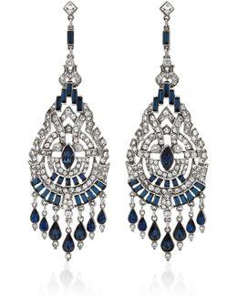 Silver-tone Crystal And Sapphire Earrings