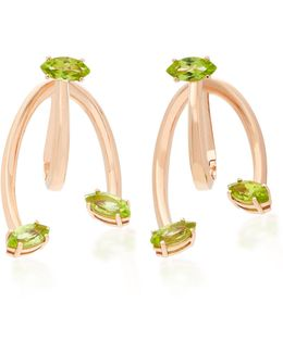 Honeysuckle Love Ties 9k Rose Gold Peridot Earrings