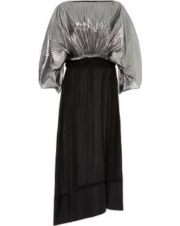 Pleated Silk-blend Lurex Midi Dress