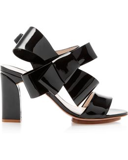Bow-embellished Patent-leather Sandals