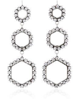 Here It Is Silver-tone Crystal Triple Earrings