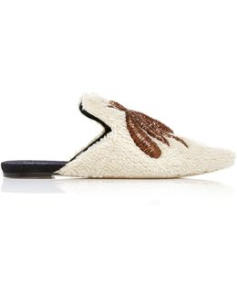 Ragno Embroidered Shearling Slippers
