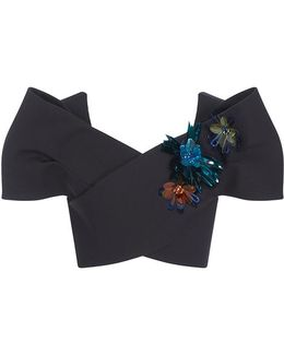 M'o Exclusive Embellished Sleeveless Bow Top