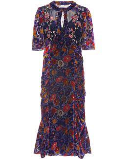 Garden Flower Velvet Dress
