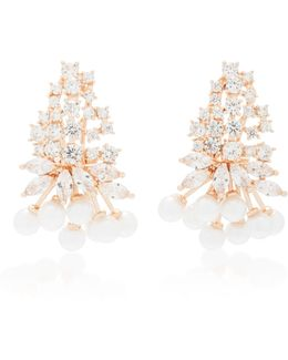 Monarch Juniper Cluster Crystal And Rose Gold-plated Earrings