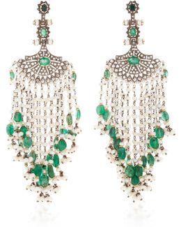 Indorussian Pearl And Emerald Fan Earrings