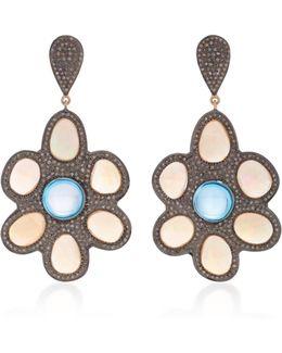 Indorussian Opal Flower Earrings