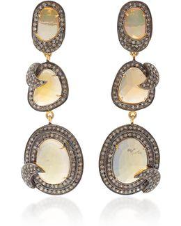 Indorussian Opal Triple Drop Earrings