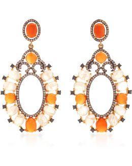 Indorussian Moonstone And Carnelian Earrings