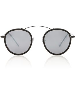 Met-ro 2 Flat Round-frame Acetate And Stainless Steel Sunglasses