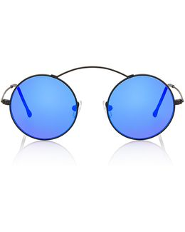 Met-ro Blue Round-frame Stainless Steel Sunglasses