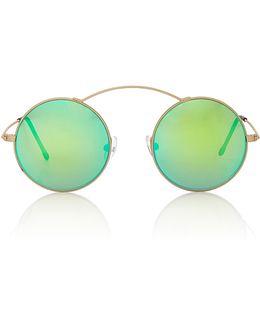 Met-ro Green Round-frame Stainless Steel Sunglasses