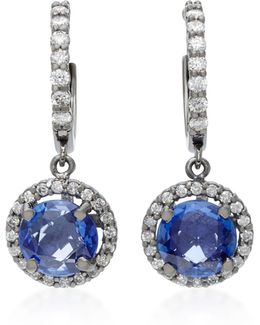 Planet 18k White Gold, Diamond And Sapphire Earrings