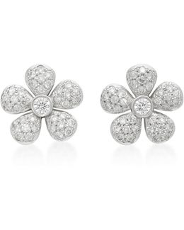 Small Flower 18k White Gold Diamond Earrings