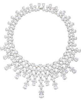 Monarch Elizabeth Bib Rhodium And Crystal Necklace