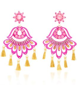 Fiesta Pink And Gold-tone Drop Tassel Earrings