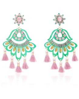 Fiesta Green And Purple Drop Tassel Earrings