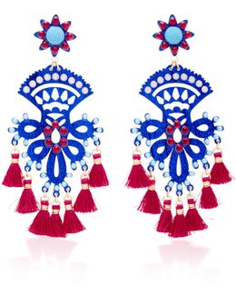 Fiesta Blue And Red Drop Tassel Earrings