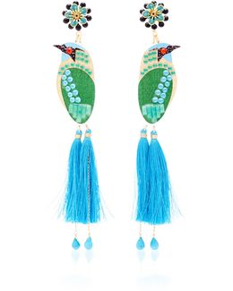 Bird Blue Drop Tassel Earrings