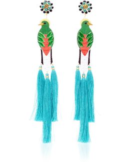 Bird Turquoise Drop Tassel Earrings