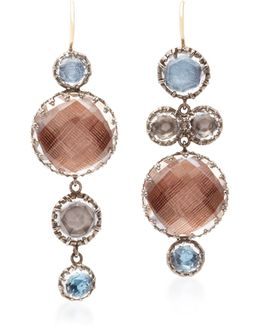 Sadie Mis-matched Gold And Quartz Earrings