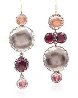 Sadie Mis-matched Bubble Gold And Quartz Earrings