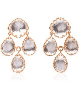 Antoinette Girandole Gold And Quartz Earrings